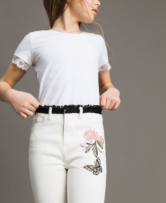 Bull skinny trousers with embroideries Off White Child 191GJ2580-04