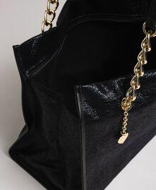 Reisetasche aus Lederimitat in Glitzeroptik Schwarz Frau 192LL7ZFF-04