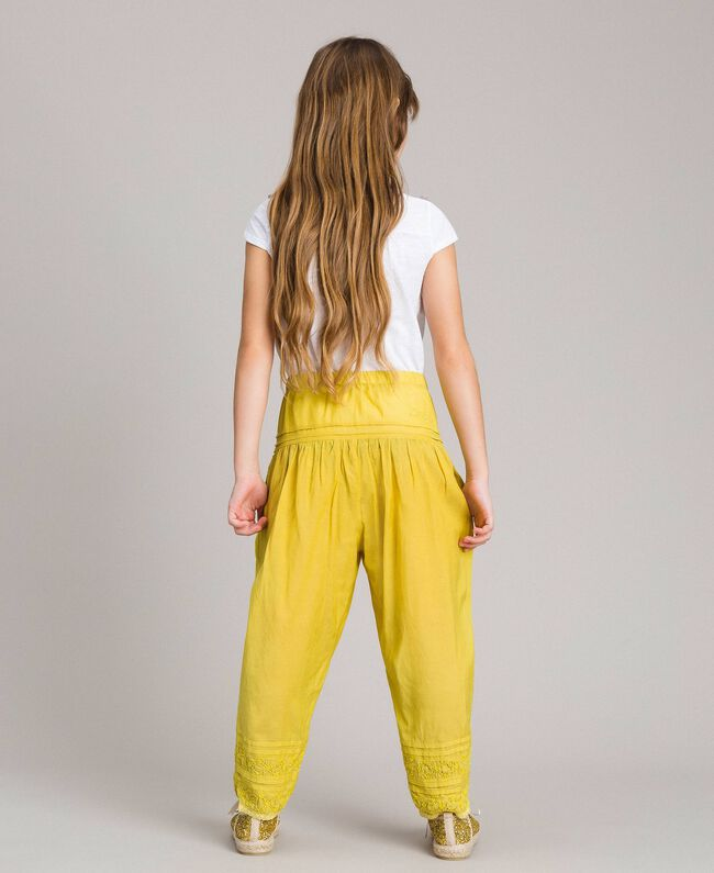 "Cotton voile trousers with embroidery ""Bamboo"" Yellow Child 191GJ2351-03"