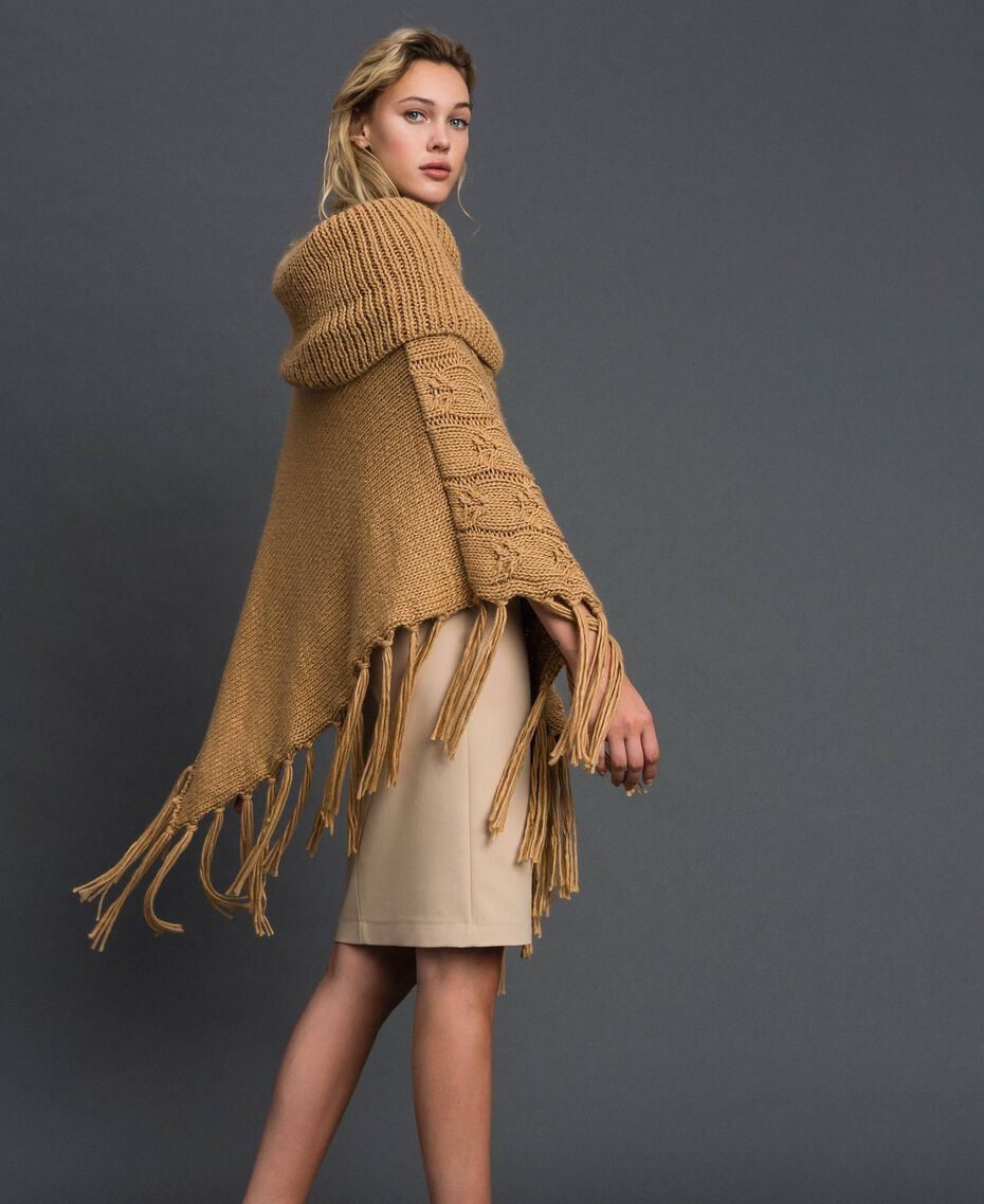 Knit poncho with fringes and bezels Camel Woman 192TO5367-02