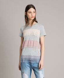 T-shirt with pleated tulle flounces Muticolour Tulle Woman 191MP2230-03
