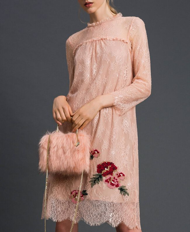 "Borsa tracolla in similpelliccia Rosa ""Peach"" Donna 192LL7ZNN-0S"
