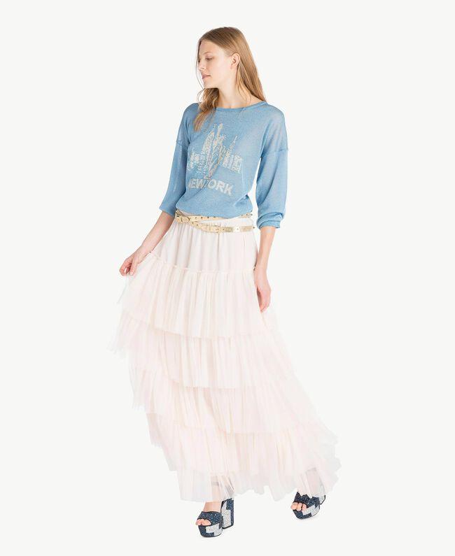 Pullover aus Lurex Lurex Orientblau Frau PS83Y2-05