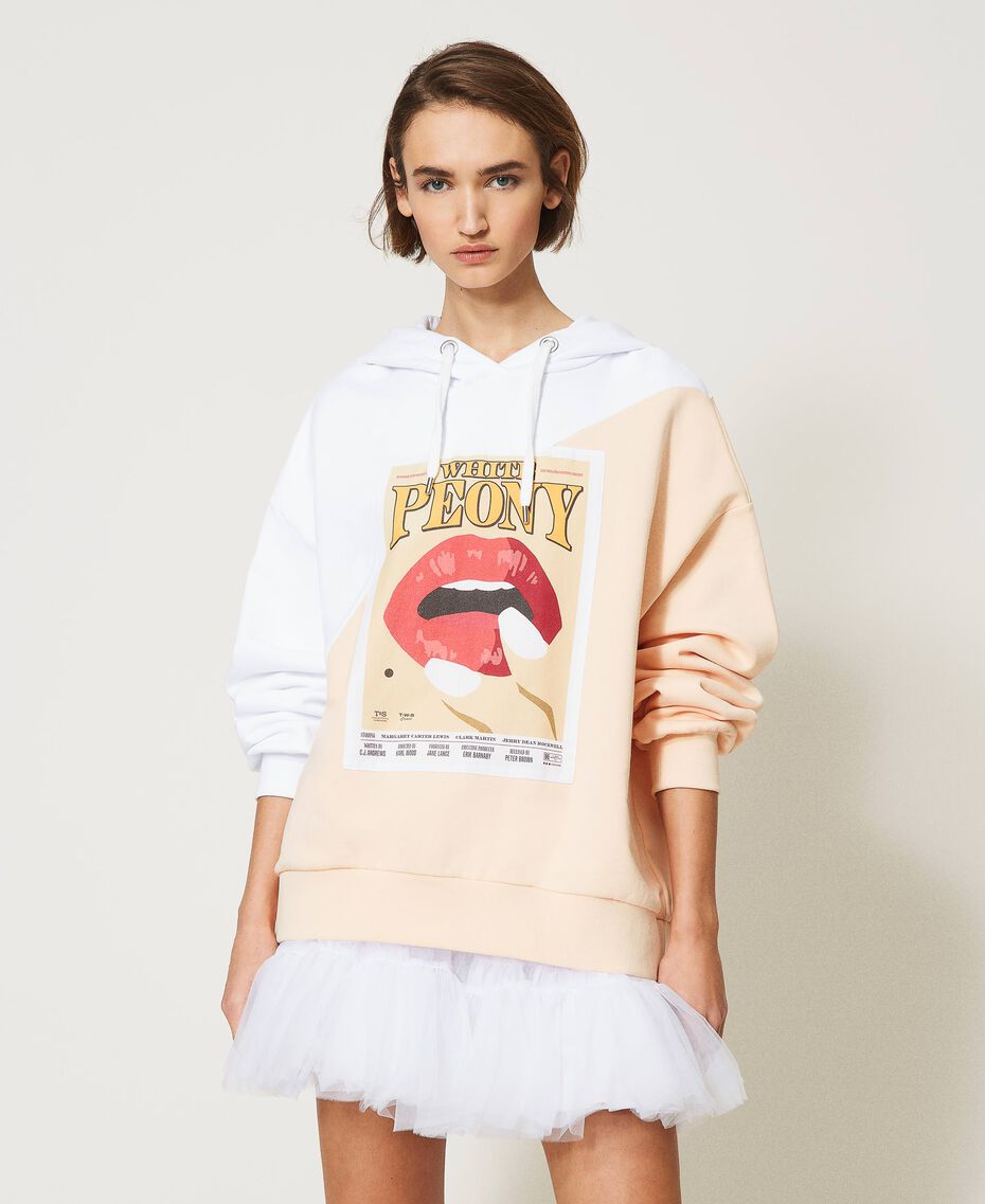 "Colour block maxi hoodie with print Two-tone ""Optical"" White / ""Light Apricot"" Pink Woman 211MT2450-02"