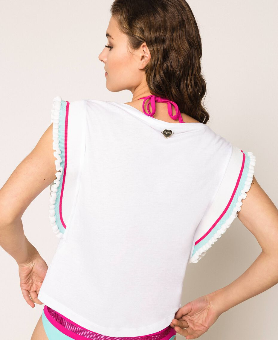 T-shirt with multicolour stripes White Woman 201LM2CHH-03