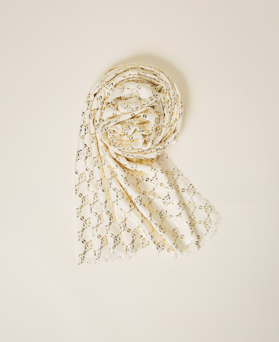 Jacquard kefiah with chain print Parchment White Woman 202TO5109-01