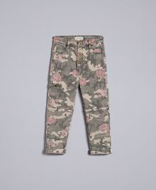 Printed canvas cargo trousers Camouflage Print Child GA82EB-01