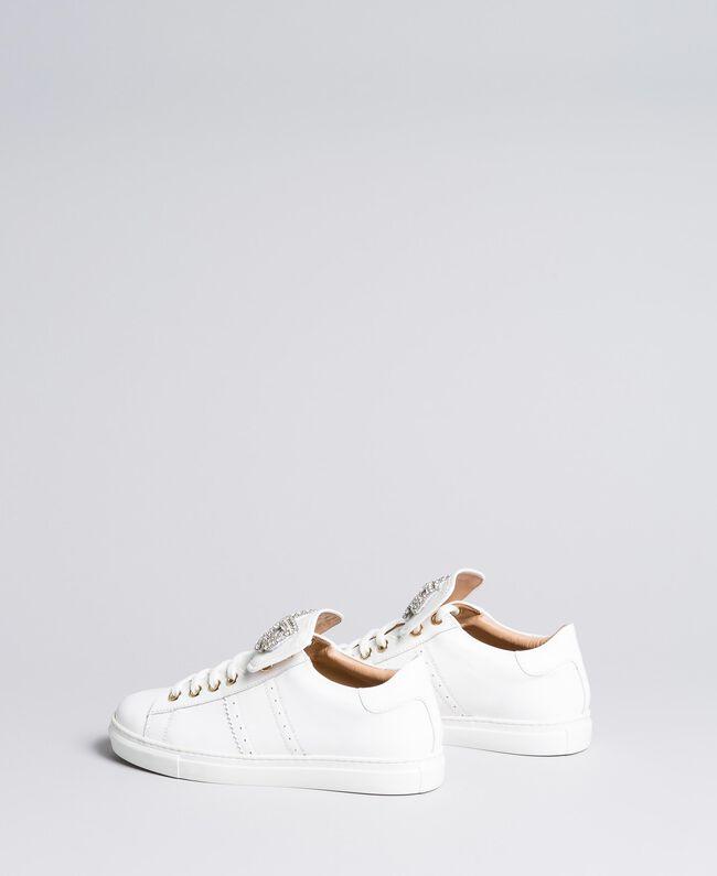 Sneakers in pelle bicolore con patch fiocco Bianco Donna CA8PBG-03