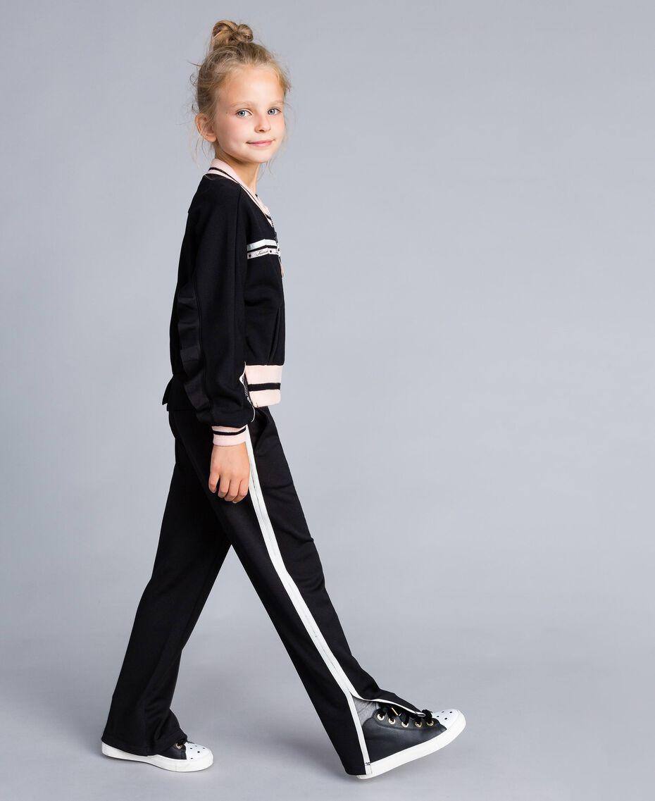 Pantaloni in tessuto tecnico con logo Bicolor Nero / Off White Bambina GA82PP-0S