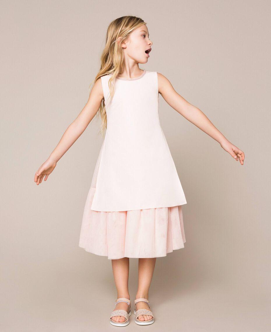 Taffeta and tulle dress Bud Pink Child 201GJ2Q20-02