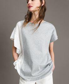 T-Shirt aus Seidenmischung mit Rüschen Grau Melange Frau 191TP2262-02