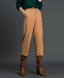 Cigarette trousers in technical wool Camel Woman 192TT2455-02