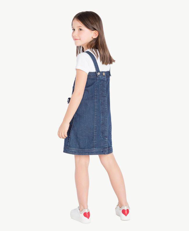 Kleid aus Denim Stickerei Denimblau / Ozeanblau Kind GS82JB-04