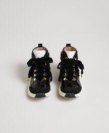Sneakers alte in pelle con paillettes Nero Bambina 192GCJ046-04