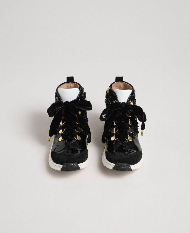 Baskets montantes en cuir avec sequins Noir Enfant 192GCJ046-04