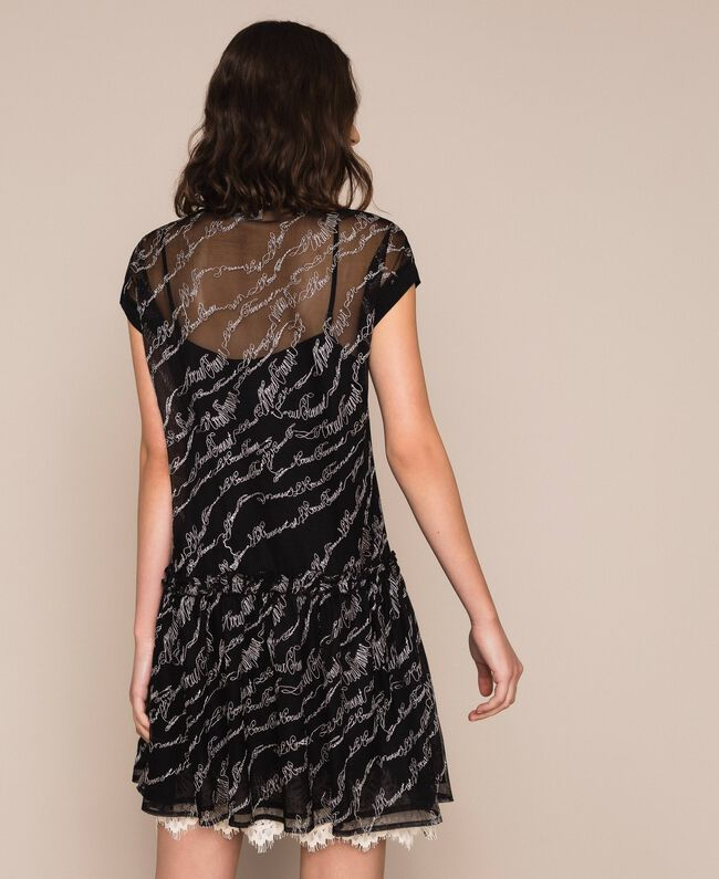Tulle dress with embroidered logo Black Woman 201ST2041-03