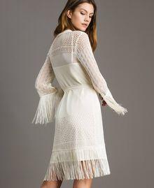 Mesh stitch fringed dress Ecrù Woman 191TT3060-04