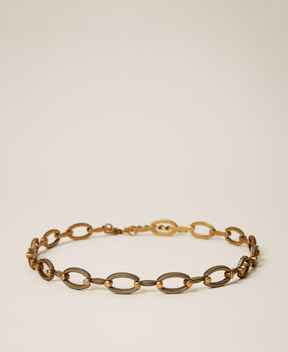 """Metal belt with torchon loops """"Aged Coppery Brass"""" Gold Woman 202TO5012-01"""
