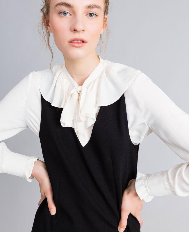 Ärmelloses Kleid mit Bluse aus Seidenmischung Zweifarbig Schwarz / Schneeweiß Frau PA8211-04