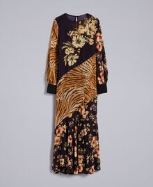 Long dress with mix of prints Flowers&Tiger Mix Print Woman TA825B-0S