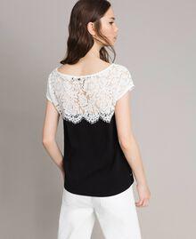 T-shirt à pois avec dentelle Bicolore Blanc / Noir Femme 191MP2064-03