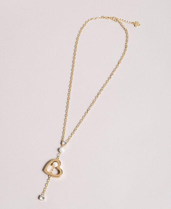 Halskette mit Herzanhänger, Perlen und Steinen