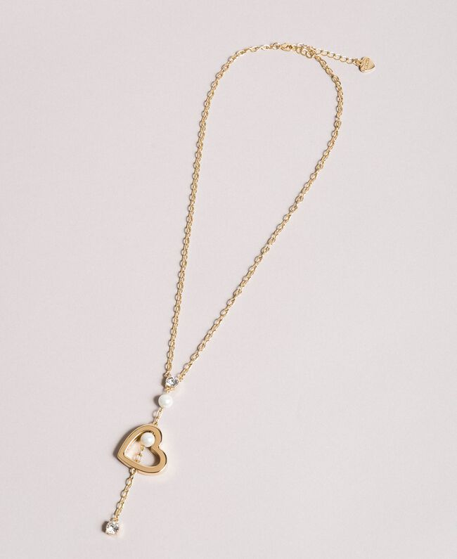 Necklace with heart pendant, pearls and stones Gold Yellow Woman 191TQP010-01