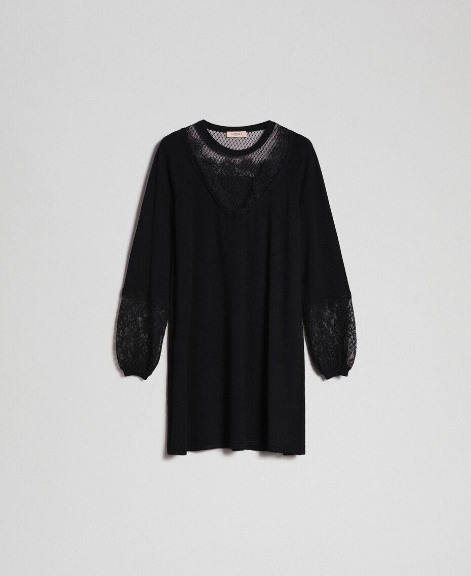 Robe avec dentelle et tulle plumetis Noir Femme 192TP3170-0S