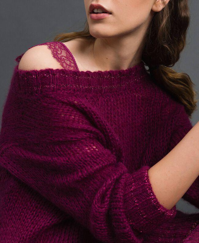Kleid aus Mohair mit Lurexstreifen und Unterkleid Rote-Bete-Rot Frau 192TP3291-04