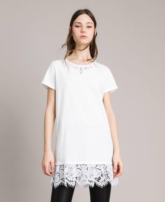 Maxi-T-Shirt mit Stickerei und Spitze White Sahne Frau 191MP2065-01