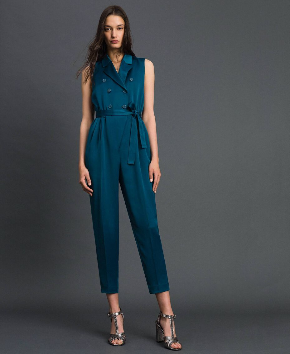 "Double breasted jumpsuit with belt at the waist ""Lake"" Blue Woman 192MP2350-02"