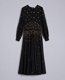 Robe longue en crêpe georgette avec broderie Noir Femme TA826A-0S