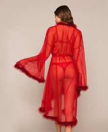 Tulle dressing gown with feathers Pomegranate Red Woman 201LL23WW-03