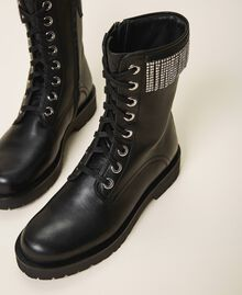 Leather combat boots with fringes Black Woman 202TCT100-03