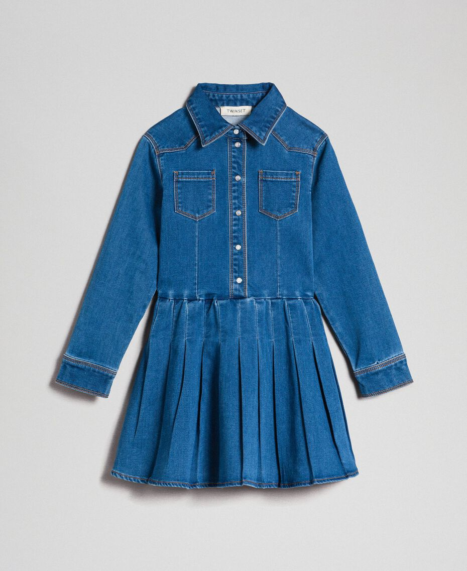 Vestido camisero de efecto vaquero Denim Medio Niño 192GJ2510-0S