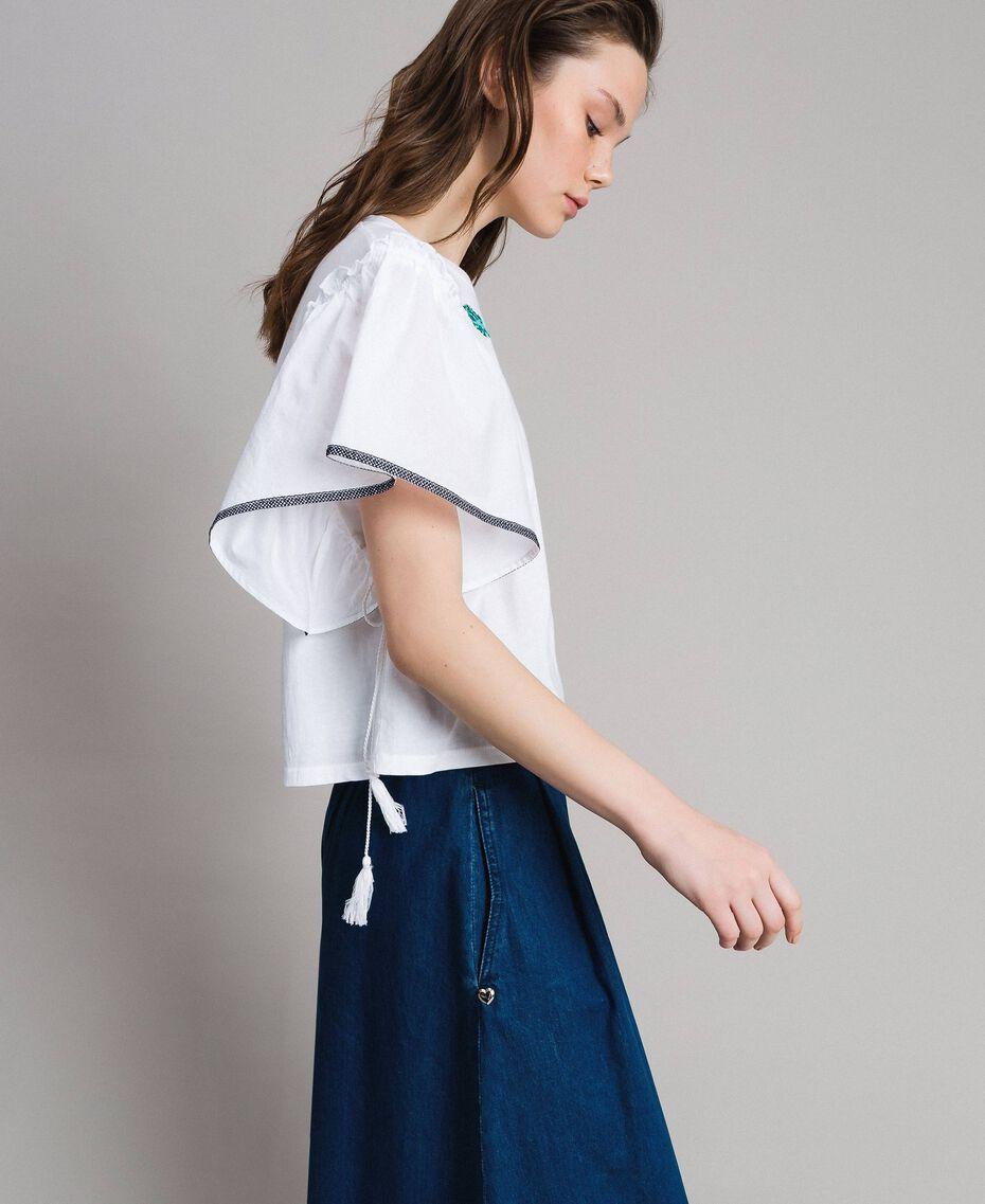 T-shirt avec broderie en point de croix Blanc Femme 191MT2400-02