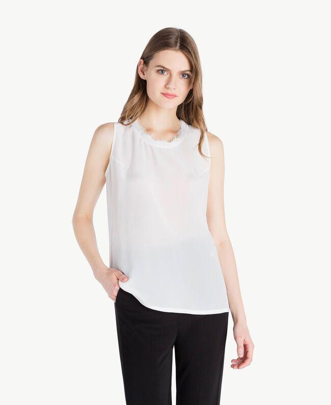 Top soie Blanc Femme PS82HC-01