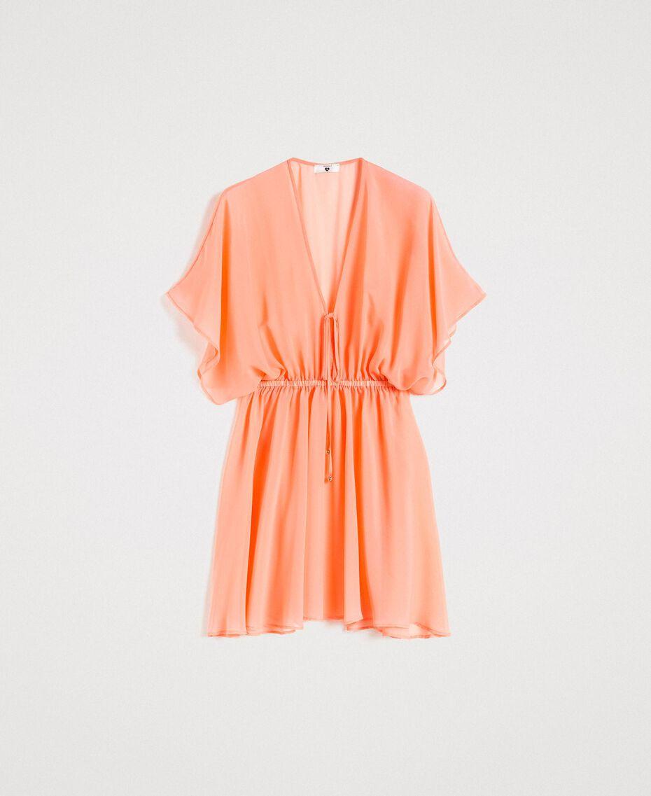 """Caftan en mousseline de soie Rose """"Crème De Tangerine"""" Femme 191LB2KDD-0S"""
