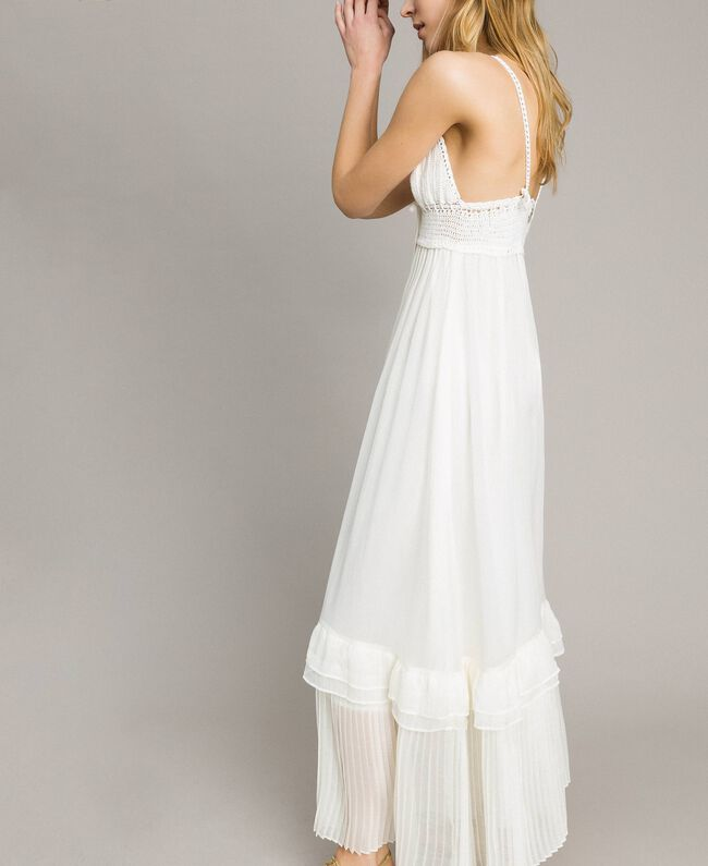 Long dress with crochet top Ivory Woman 191LM2NDD-03