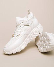 Sneakers aus Lederimitat und Gestrick Elfenbein Frau 201LLPZBB-01