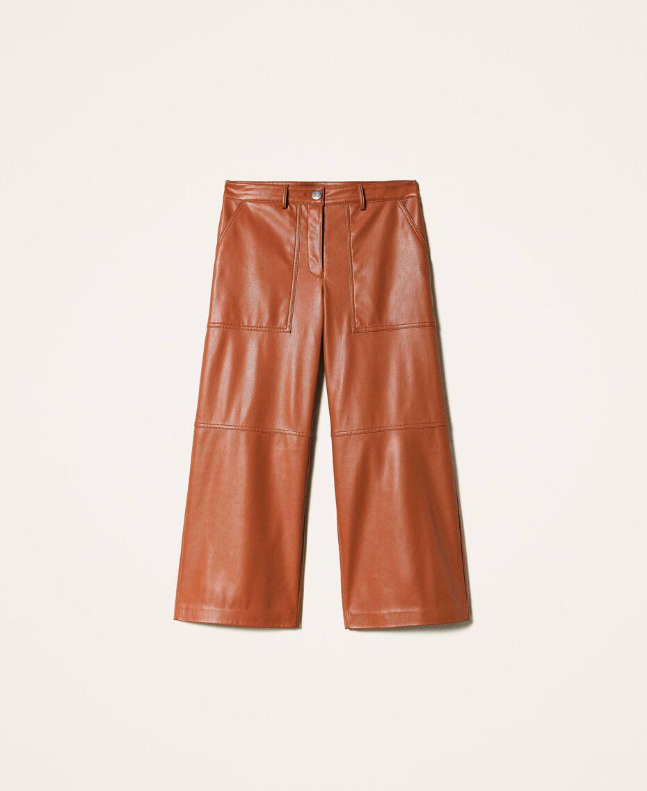 Pantalon cropped en similicuir Bleu Blackout Femme 202LI2GAA-0S