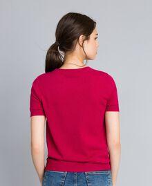 Pull en laine et cachemire avec dentelle Fuchsia Azalée Femme TA83AK-03