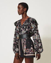 Blouse en mousseline avec imprimé floral Imprimé Fleur Indienne Noir Femme 211TT2563-04