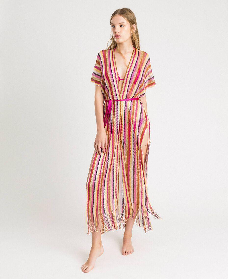 """Lurex gestreifter Strick-Poncho Streifen Multicolour """"Psychedelic Pink"""" Fuchsie Frau 191LB4AMM-01"""