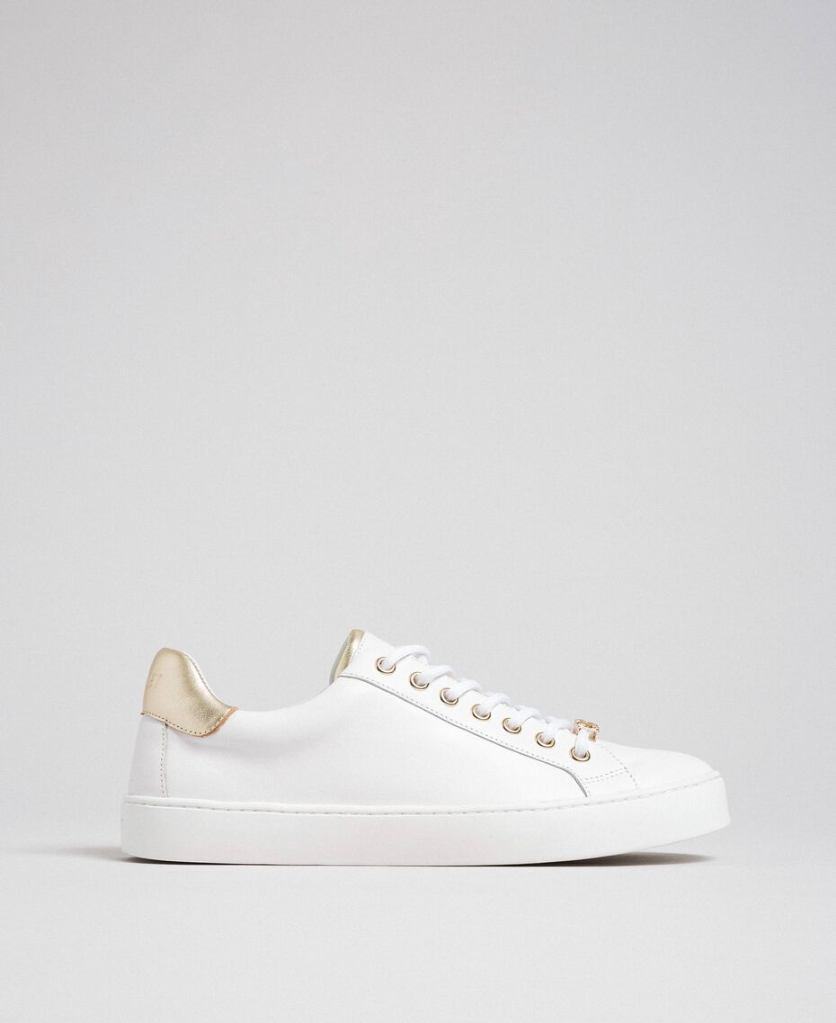 Sneakers aus Leder mit Kontrastdetail Schwarz Frau 192TCP06E-02