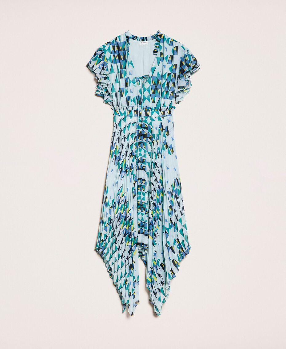 """Платье из набивного жоржета с плиссировкой и воланами Принт Геометрический Голубой """"Ветреный"""" женщина 201ST2185-0S"""