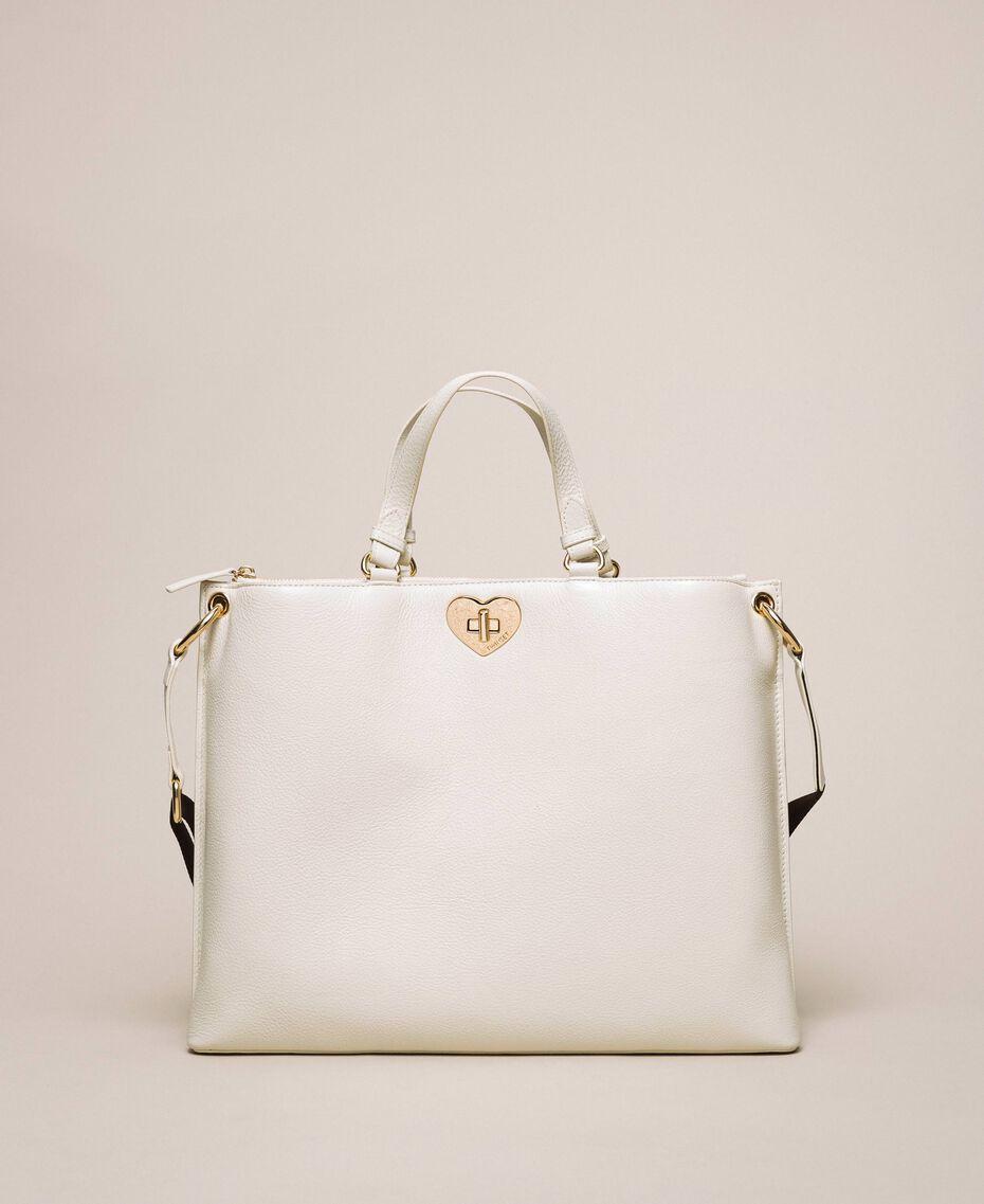Большая кожаная сумка-шоппер с сердцем Белый Снег женщина 201TA7052-02