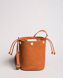 Faux leather bucket bag Leather Brown Woman 191TO8111-03