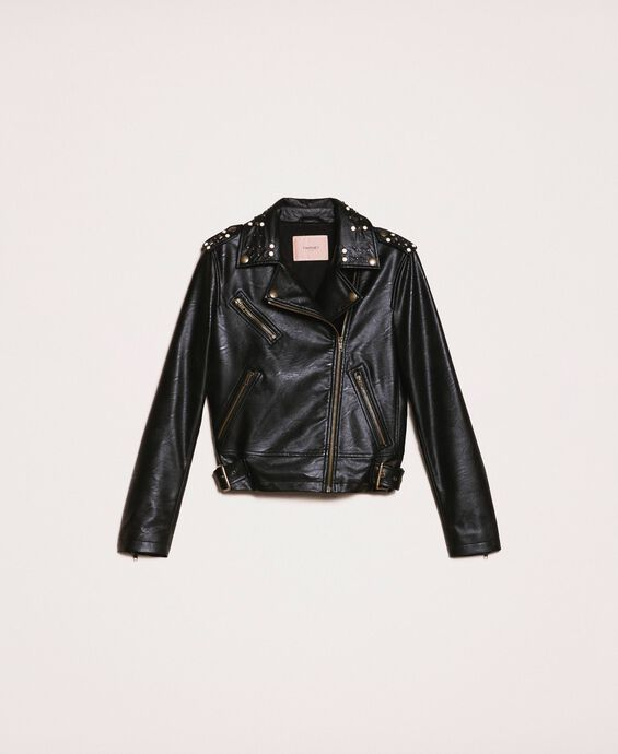 Faux leather biker jacket with studs and pearls