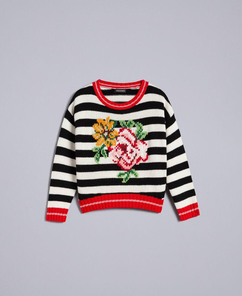 """Wool blend jumper """"Snow"""" White / Black Stripe Woman PA83HR-0S"""